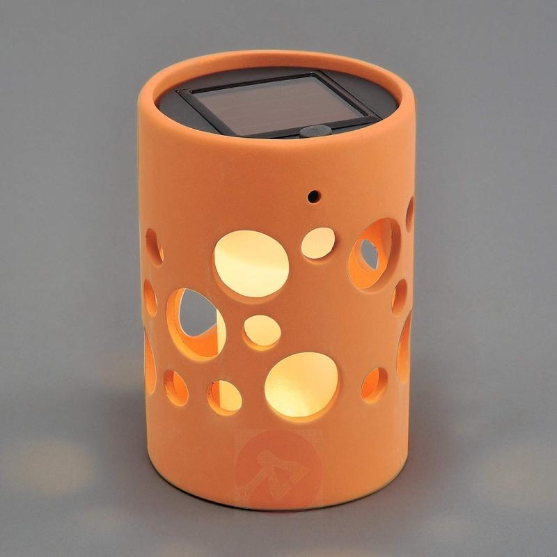 NEW GENOVA LED solar light, cylinder, terracotta - outdoor-led-lights