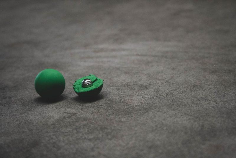 Detectable balls in Natural Rubber (NR) - Balls with a small detectable metal ball in the inside.
