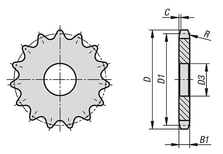 """Disques simples 5/8"""" x 3/8"""" DIN ISO 606 - Chaînes et pignons"""