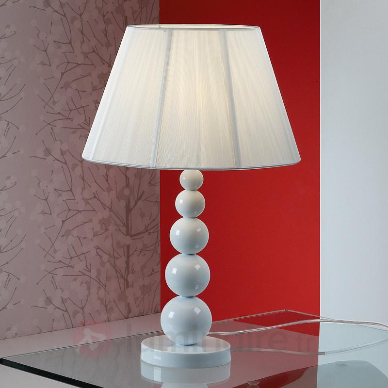 Mercury - lampe à poser en blanc, hauteur 55 cm - Lampes à poser en tissu