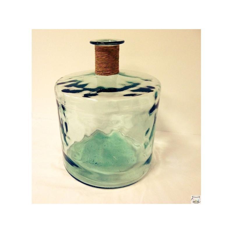 Grand vase en verre 100% recyclé JARRON FRANCES ENEA, 45 CM, finition raffia - Vases, Lanternes, décoration
