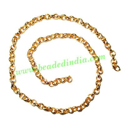 Gold Plated Metal Chain, size: 1x5mm, approx 27 meters in a  - Gold Plated Metal Chain, size: 1x5mm, approx 27 meters in a Kg.