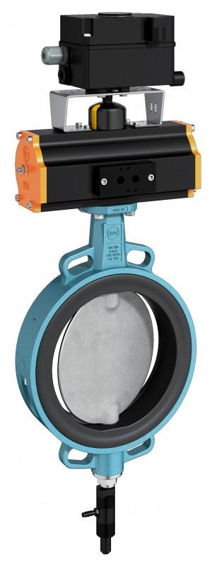 Vibration / Dosing valve ViDos - A wafer type process valve with a vibrator mounted on the lower shaft