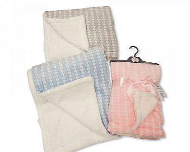 Baby Blanket/ Wrap with Zig-Zag Print and Sherpa Back - Doub -