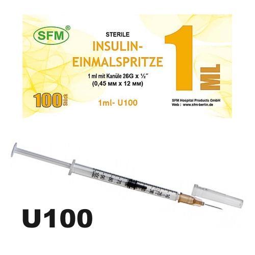 SFM Insulinspritze Einmalspritze 1ml U100 + 26G Kanüle (100) - null