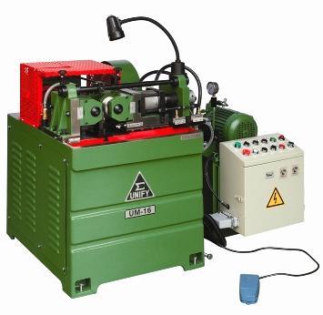 with long bar feeding system - UM-16 hydralich thru feed thread rolling machine set with the long bar feeding s