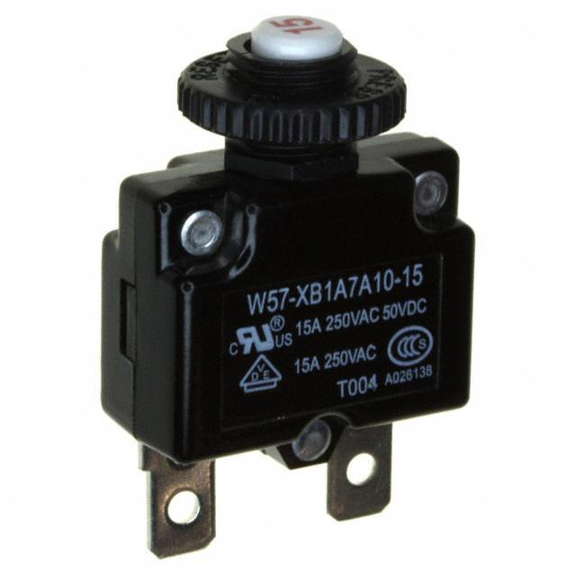 CIR BRKR THRM 15A 250VAC - TE Connectivity Potter & Brumfield Relays W57-XB1A7A10-15