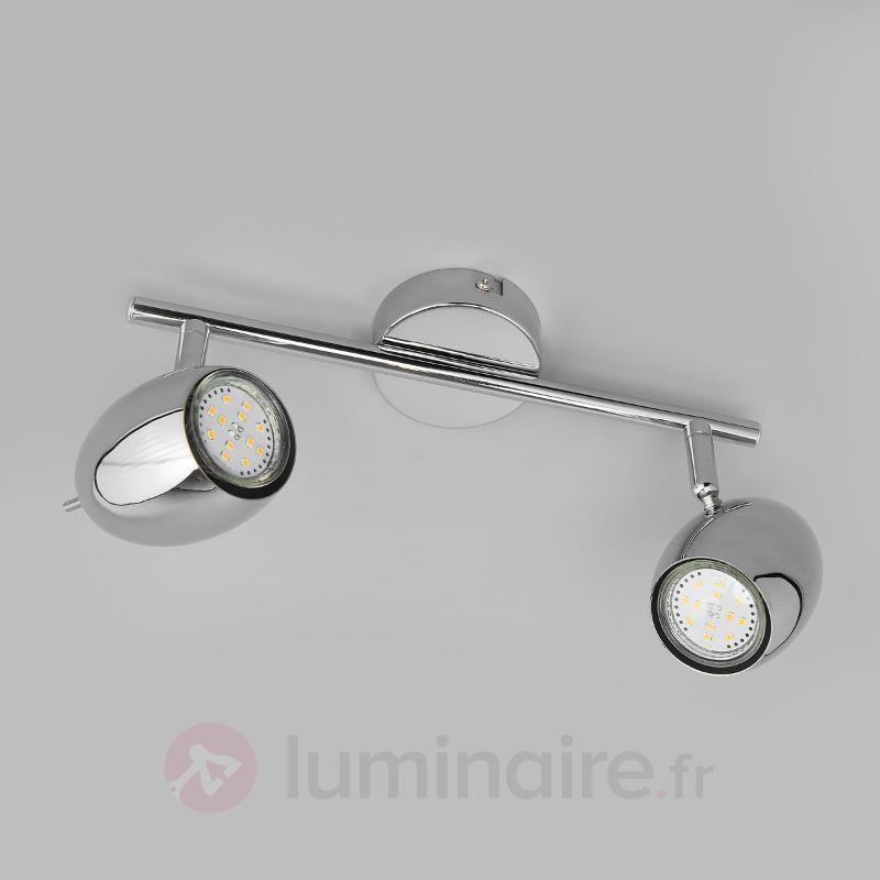 Spot LED chromé brillant Philippa, à 2 lampes - Spots et projecteurs LED