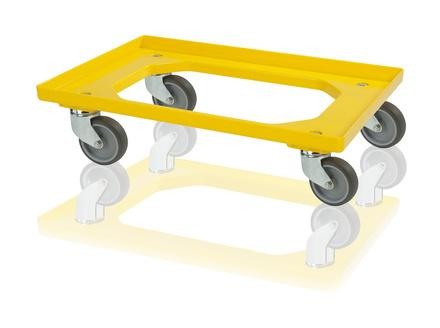Transport trolleys - Crate dolly 4 steering wheels - yellow