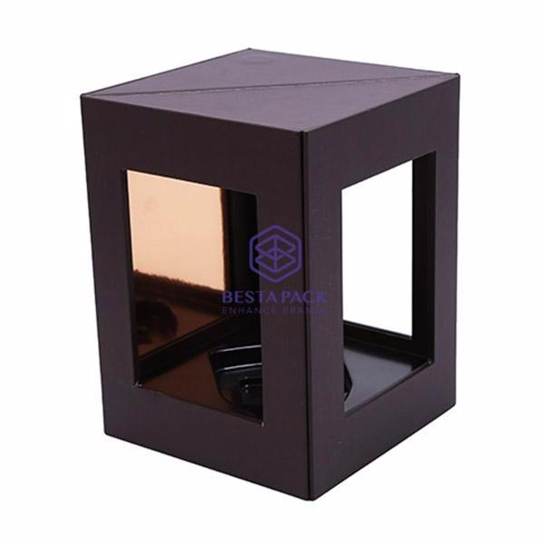 Caja de vino - Cierre magnético, 3 ventanas, inserto de EVA y bandeja de aspiradora.