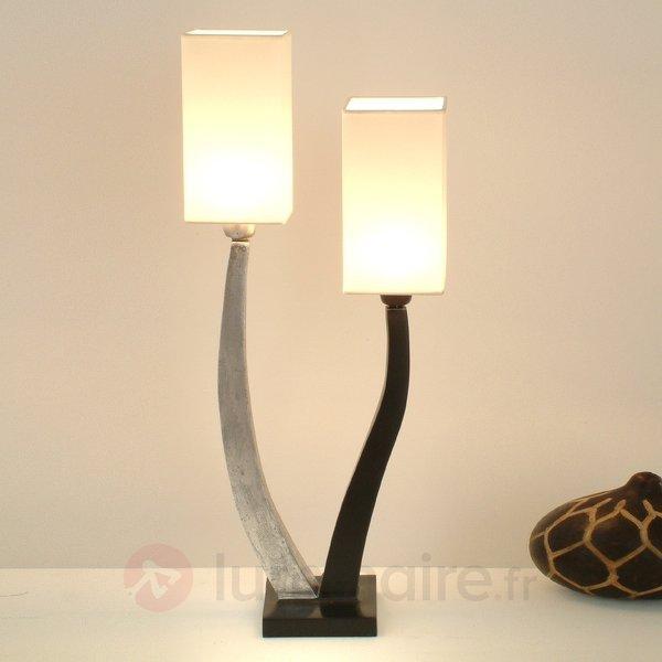 Élégante lampe à poser QUADRANGOLAR, argt 2 lps. - Lampes à poser en tissu
