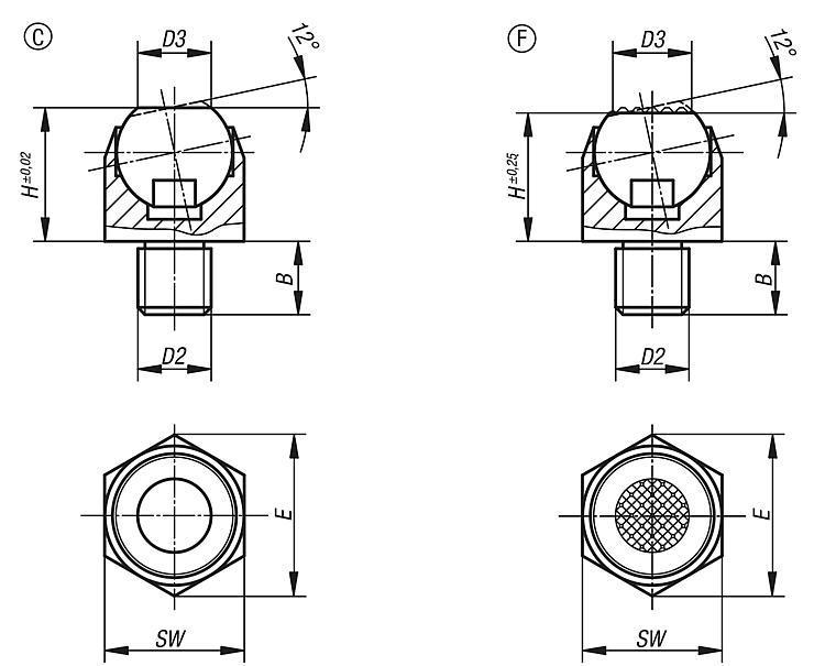 Self-aligning Pads Swivel 12° - Self-aligning pads