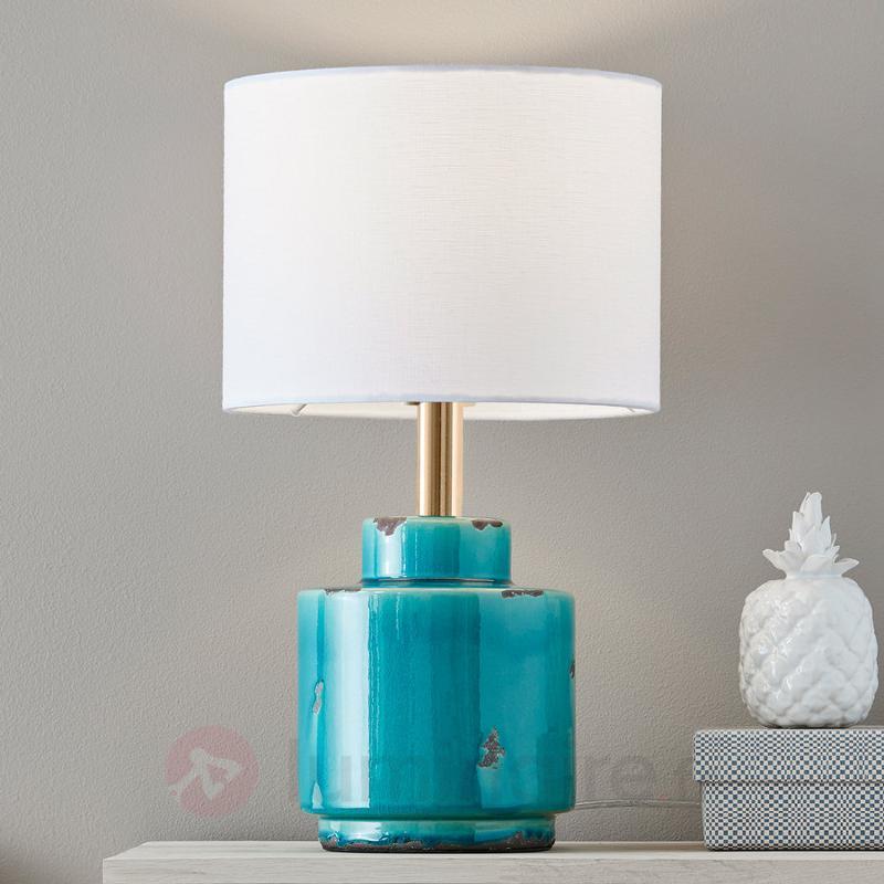 Lampe à poser textile Cous avec pied céramique - Lampes à poser en tissu