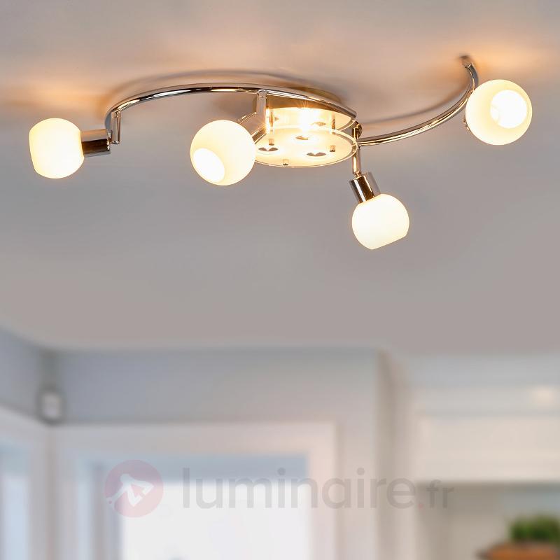 Joli plafonnier en verre Evaletta à LED - Plafonniers LED
