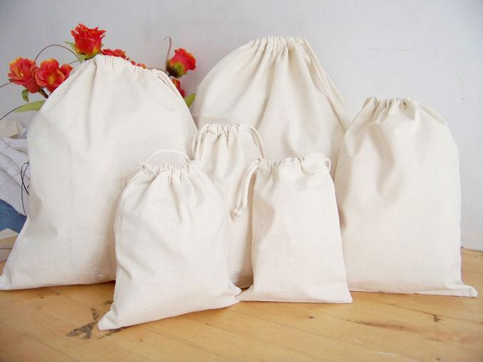 Unbleached muslin Cotton drawstring bags , jewellery packaging ...