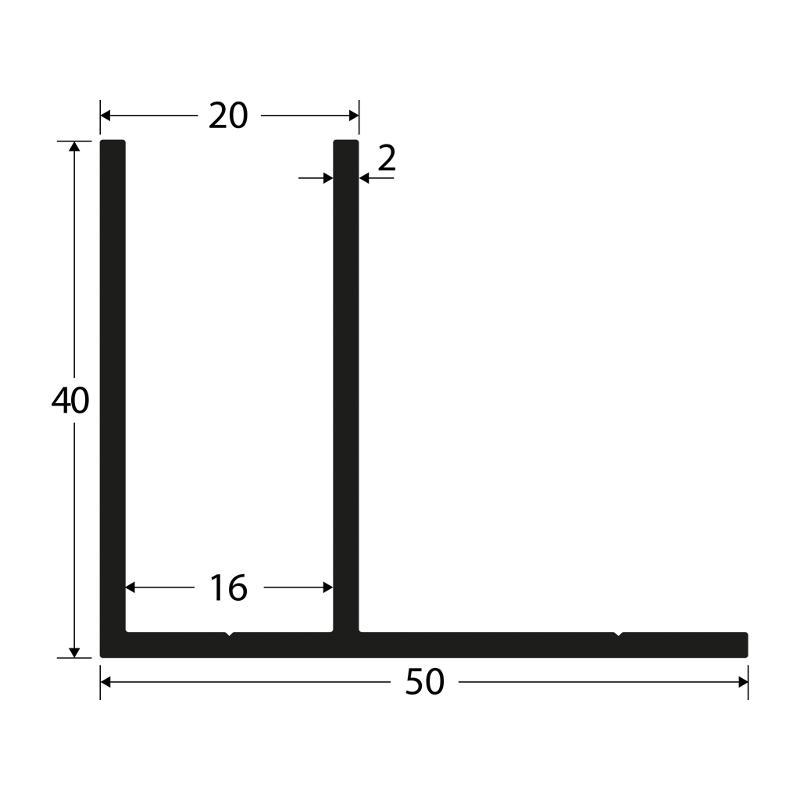 F-Profile 40x20x50x2mm, anodized - F-profiles