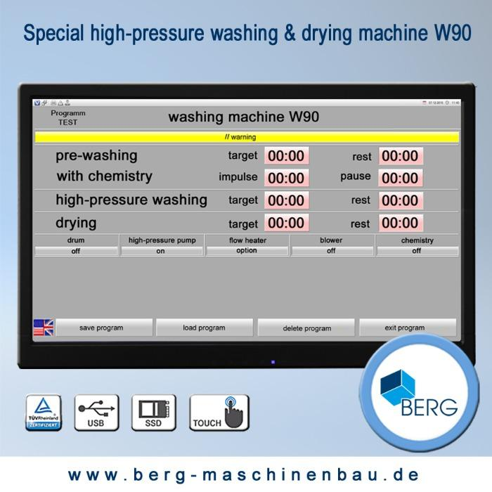 W90 special high-pressure washing & drying machine - for the efficient cleaning of medical & technical elastomers