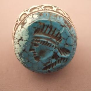 Bagues - Argent, intaille turquoise, coraux, Afghanistan