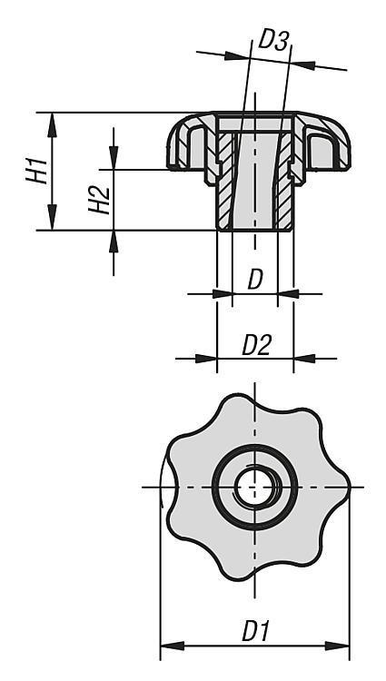 Bouton étoile à serrage rapide - Poignées et boutons