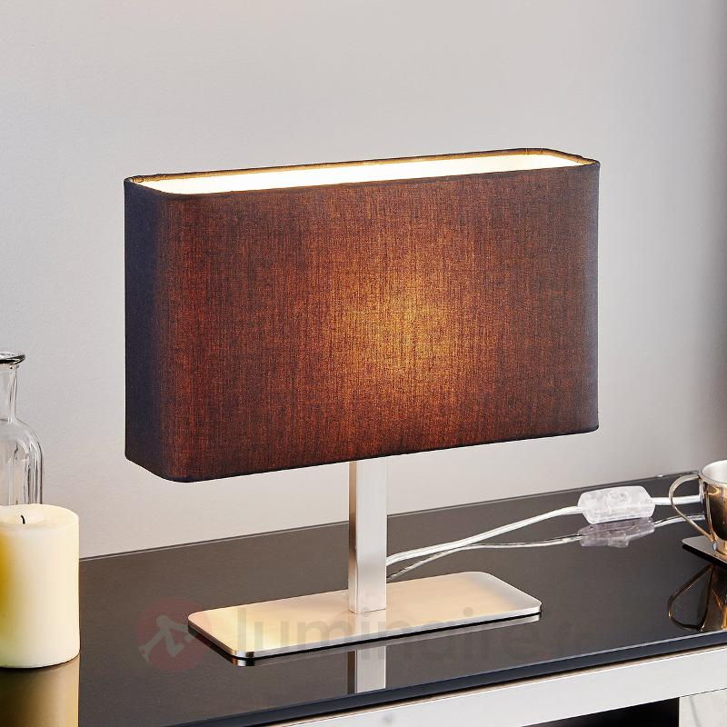 Lampe à poser textile rectangulaire noire Nisa - Lampes à poser en tissu