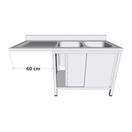 Plonge en inox sur armoire à portes coulissantes - Plonges inox sur armoire + espace lave-vaisselle