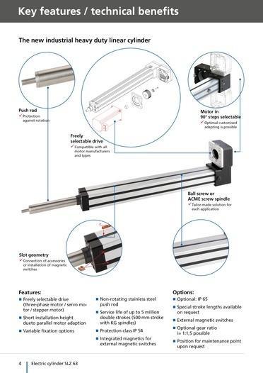 Cilindro eléctrico SLZ 63 - Aplicaciones con cargas pesadas