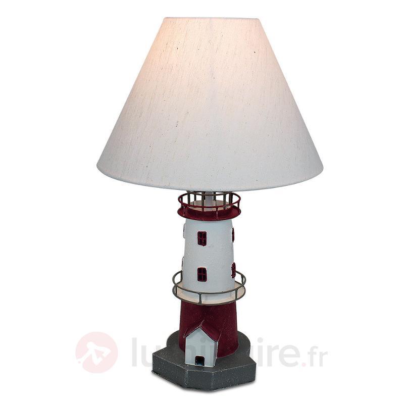 Lampe à poser phare à rayures rouges Piet - Lampes à poser en tissu