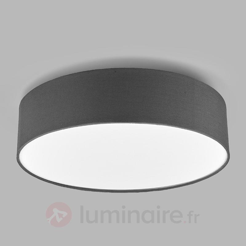 Plafonnier LED Sebatin en tissu gris - Plafonniers en tissu