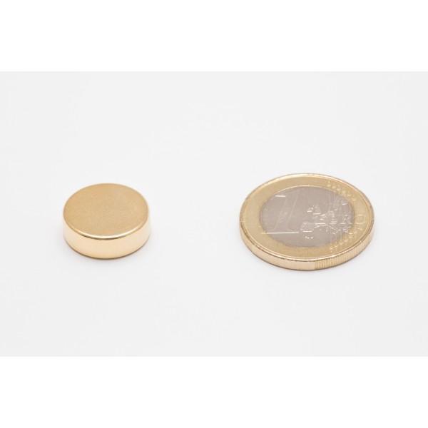 Neodymium disc magnet 15x5mm, N45, Ni-Cu-Ni, gold coated - Disc