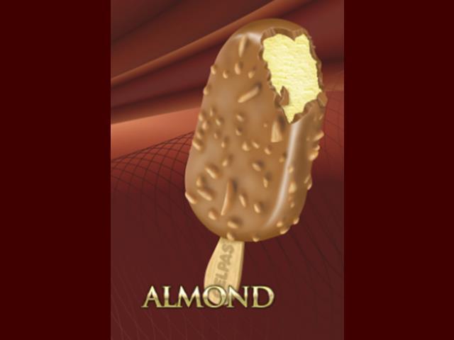 Gelato alla crema  - Ricoperto  da goloso cioccolato al latte, con mandorle