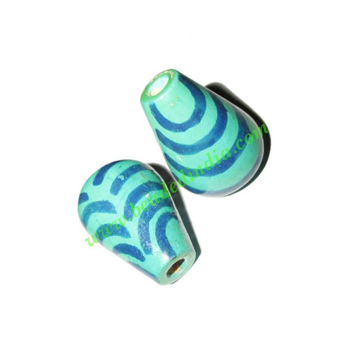 Wooden Painted Beads, Fancy Design Hand-painted beads, size  - Wooden Painted Beads, Fancy Design Hand-painted beads, size 20x33mm, weight appr