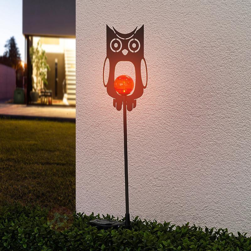 Lampe décorative solaire Chouette en métal