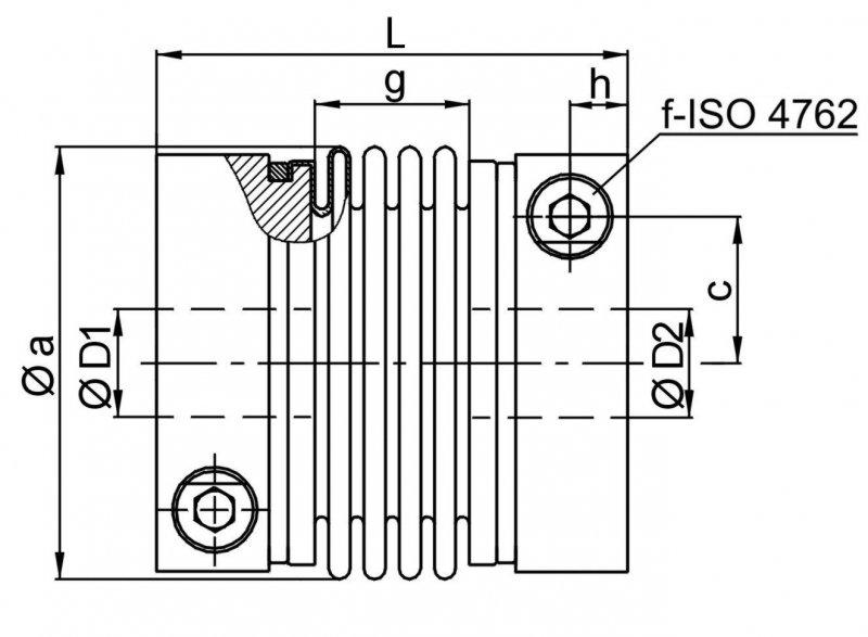 Metal bellows coupling KP - 4-corrugation metal bellows coupling - short design - high torsional stiffness