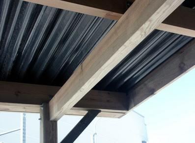 Carport double en bois avec atelier - Toit plat