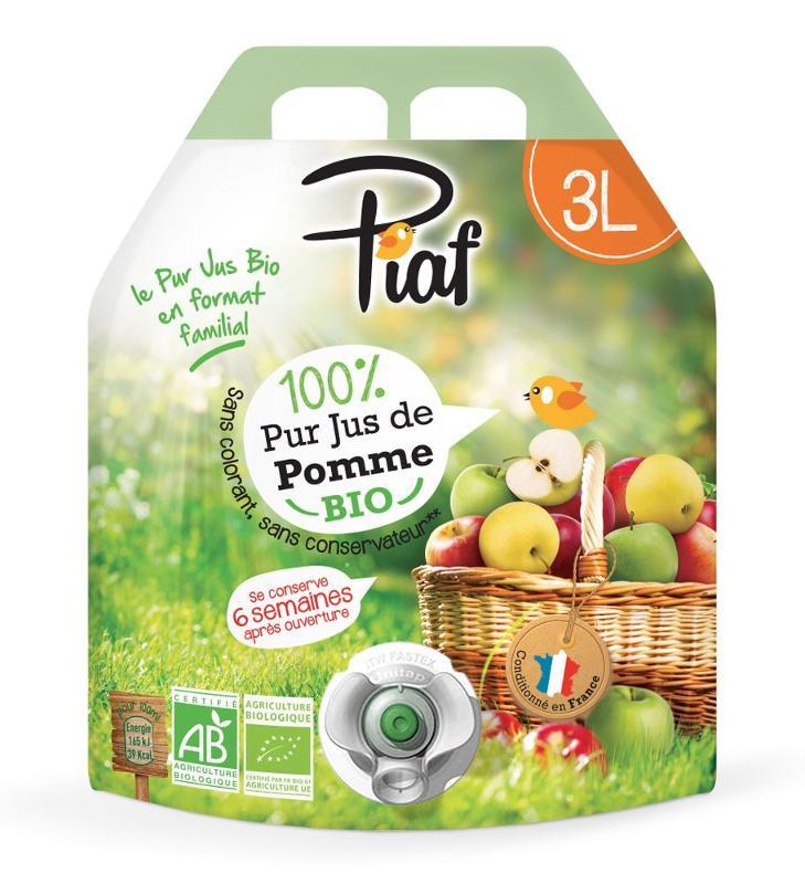 Pur Jus de Pomme BIO PIAF en poche 3L - Boissons