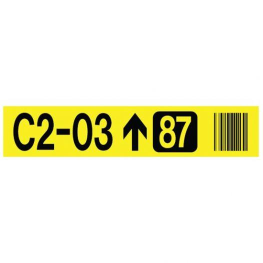 Labels on magnetic vinyl - Background colour: yellow  Printing:  black