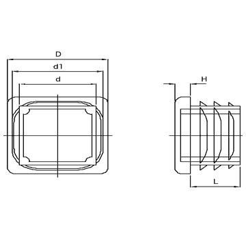 N250 CA Embouts carrés à ailettes - Pièces de finition