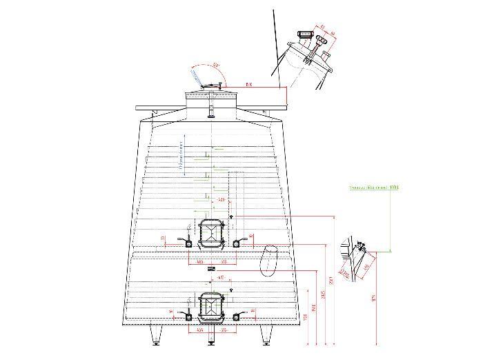 Serbatoio in acciaio inox 304L - 244 HL - Tronco di cono isolato - Circuito a compartimenti stagni e a guscio