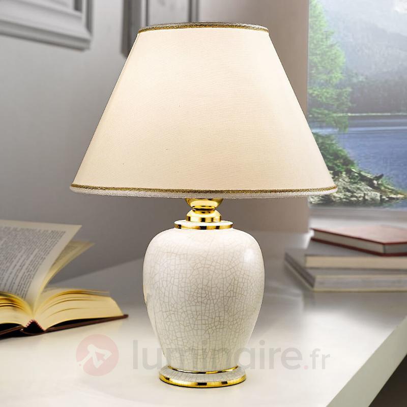 Lampe à poser blanche GIARDINO CRACLEE 30 cm - Lampes à poser en tissu