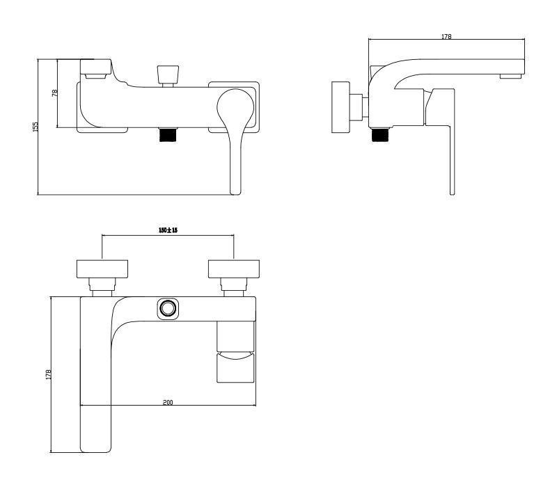Mitigeur douche/baignoire chromé - design - Plomberie & Sanitaires