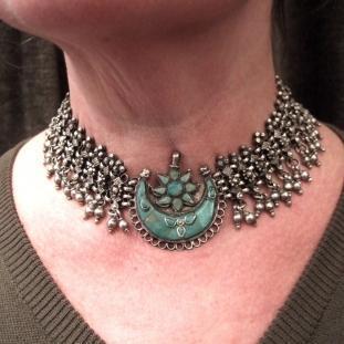 Colliers - Argent, turquoises, cordon noir ajustable, Inde