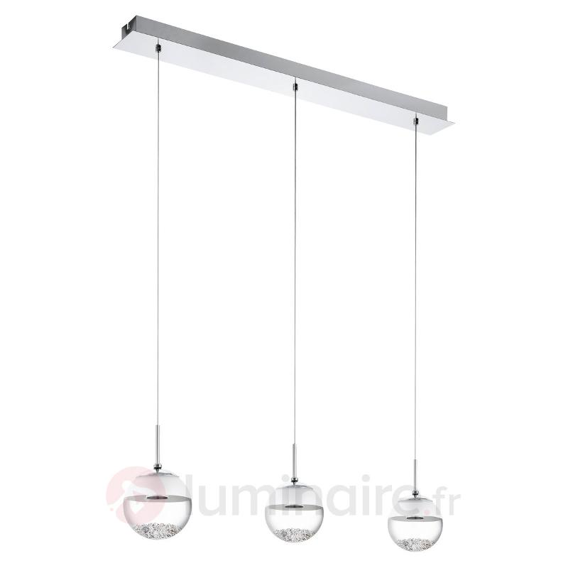 Suspension LED allongée Montefio avec cristal - Suspensions LED