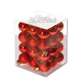 Weihnachtskugel 36 Stück 3cm Durchmesser Farbe: Rot - null