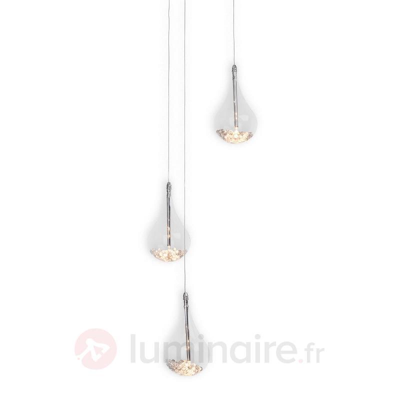 Maira - suspension avec trois gouttes de verre - Suspensions en verre