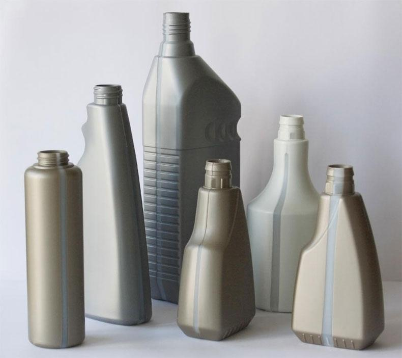 PE bottles with see-through window strip - plastic bottles / plastic packaging / see-through window strip