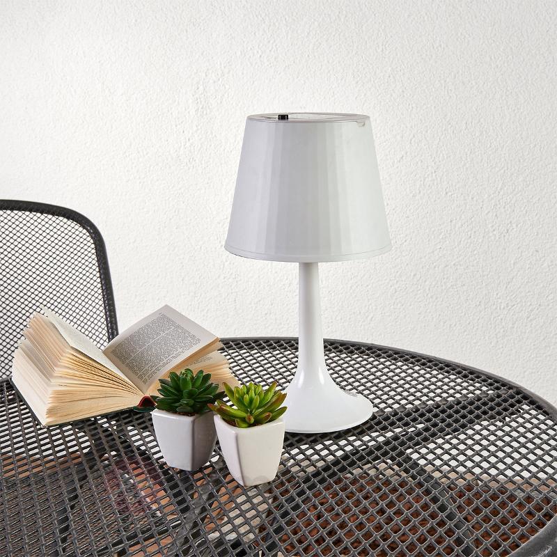 Lampe à poser solaire blanche Jesse à LED - Toutes les lampes solaires