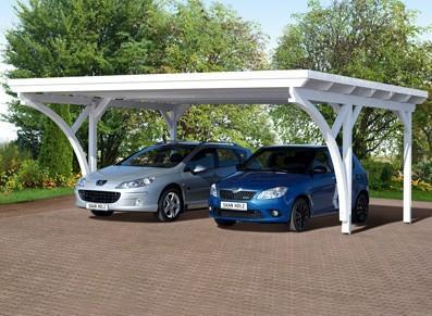 Carport 2  voitures en bois - Toit plat
