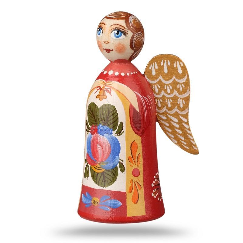 """تمثال/ دمية خشبي """"الملاك"""" - ملاك مع لوحة تستند إلى تكوين """"فولخوف روزان المزخرف على الخشب رقم 1"""""""