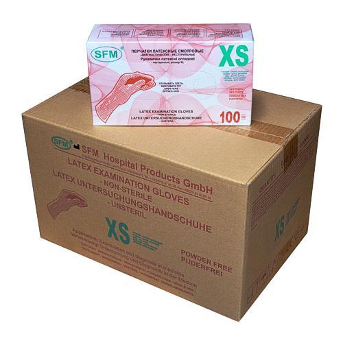 SFM Latex Untersuchungs Handschuhe puderfrei weiss XS (1000) - null