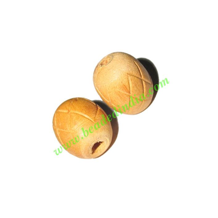 Natural Color Wooden Beads, size 15x17mm, weight approx 1.4  - Natural Color Wooden Beads, size 15x17mm, weight approx 1.4 grams